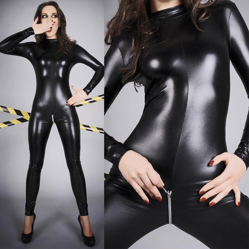Plus Size 4XXXXL Sexy Lingerie Leather PU Jumpsuit Nuisette Sexy Catsuit Zipper Open Crotch Clubwear Teddies Women