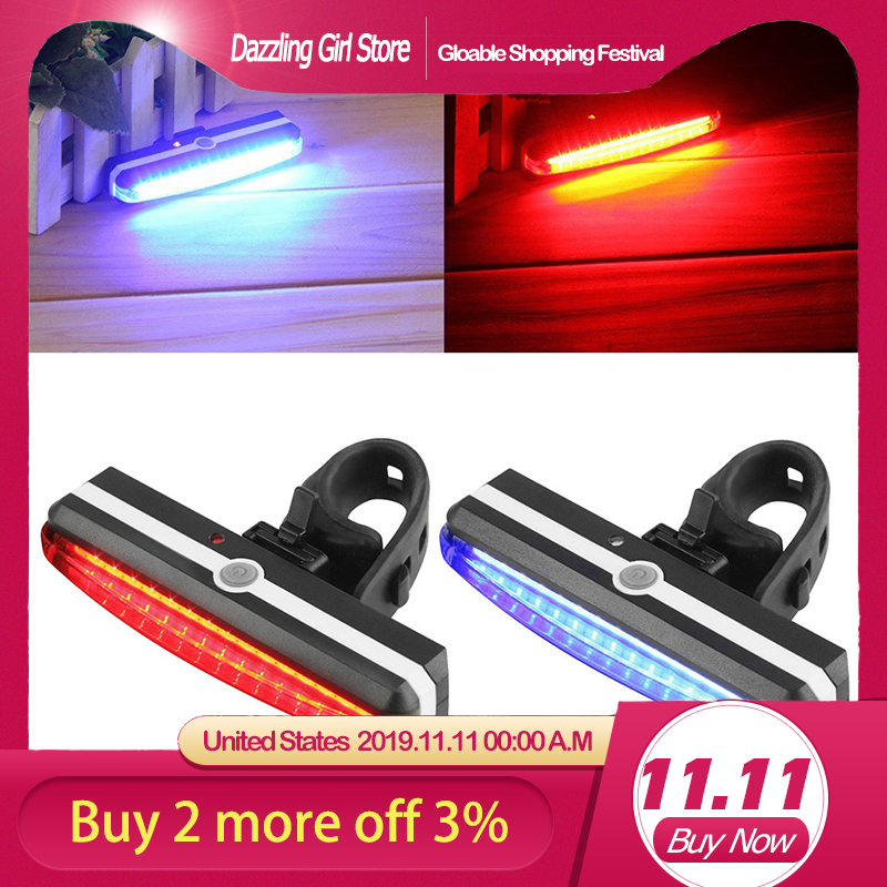 USB Rechargeable Bike Rear Tail Light LED Bicycle Warning Safety Smart Lamp HOT~