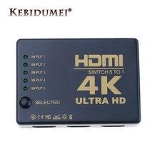 4K HD1080P Mini commutateur 3 5 ports HDMI-compatible séparateur de commutateur avec Hub IR télécommande pour HDTV DVD TV BOX Z2