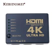 Divisor quente do seletor do interruptor de hdmi do porto 4 k hd1080p 3 5 com controlador remoto do ir do cubo para a caixa da tevê de hdtv dvd z2
