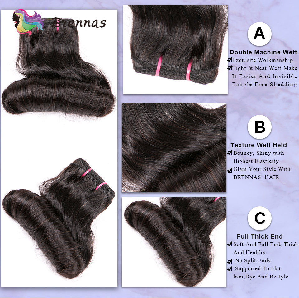 bundles Funmi double drawn bouncy curly hair weave bundles High Ratio  hair extension natural color  5