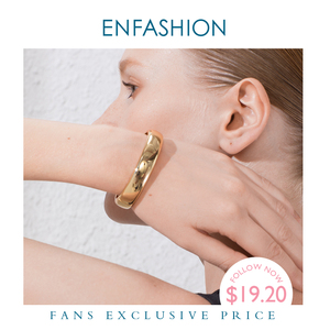 Image 1 - ENFASHION Blank Wide Cuff Bracelets For Women Accessories Gold Color Simple Minimalist Bangles Fashion Jewelry Wholesale B192029