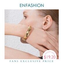 ENFASHION brazalete ancho en blanco para mujer, accesorios, Color dorado, brazaletes minimalistas simples, joyería, venta al por mayor, B192029