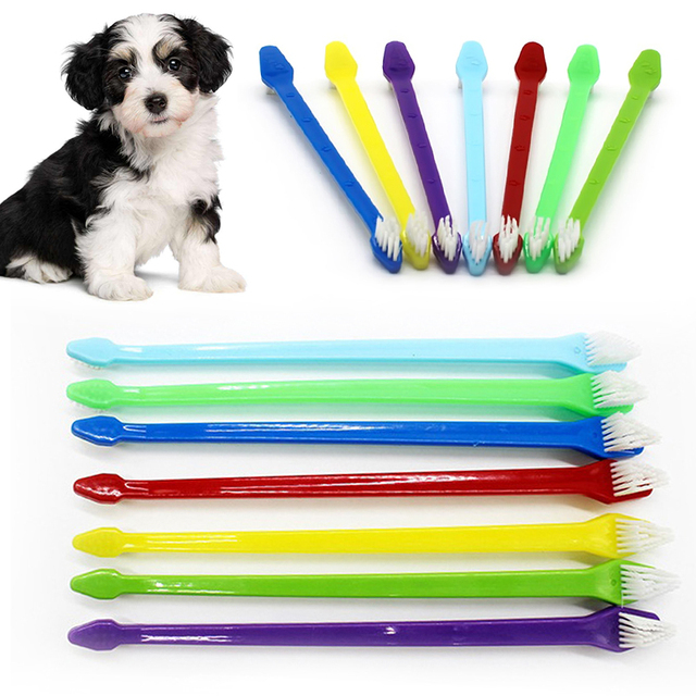 1pc Two Sided Dog Toothbrush Bad Breath Tartar Teeth Care For Cat Dog Tooth Clean Brush Soft Pet Finger Toothbrush pet Suppplies 1
