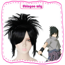 цена на Ebingoo Naruto Uchiha Sasuke Wigs Black Short Straight Shaggy Layered Synthetic Costume Cosplay Wig for Men