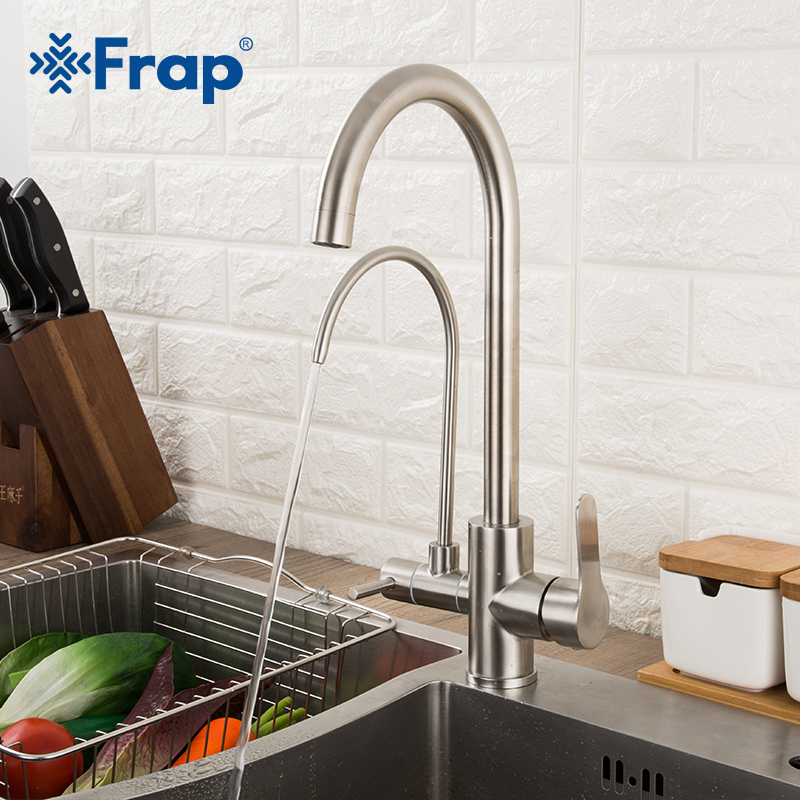 Frap Filter Kitchen Faucets 304 Stainless Steel 360 Rotation With Water Purification Features Mixer Tap Crane For Kitchen Mixer