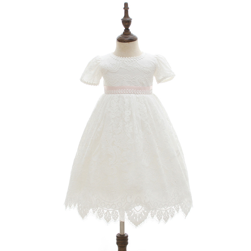 Newborn Baptism Dress Long Baby Girl Christening Robe with Bonnet Hat Children Clothes Baby Occasion Dress Christening Gown
