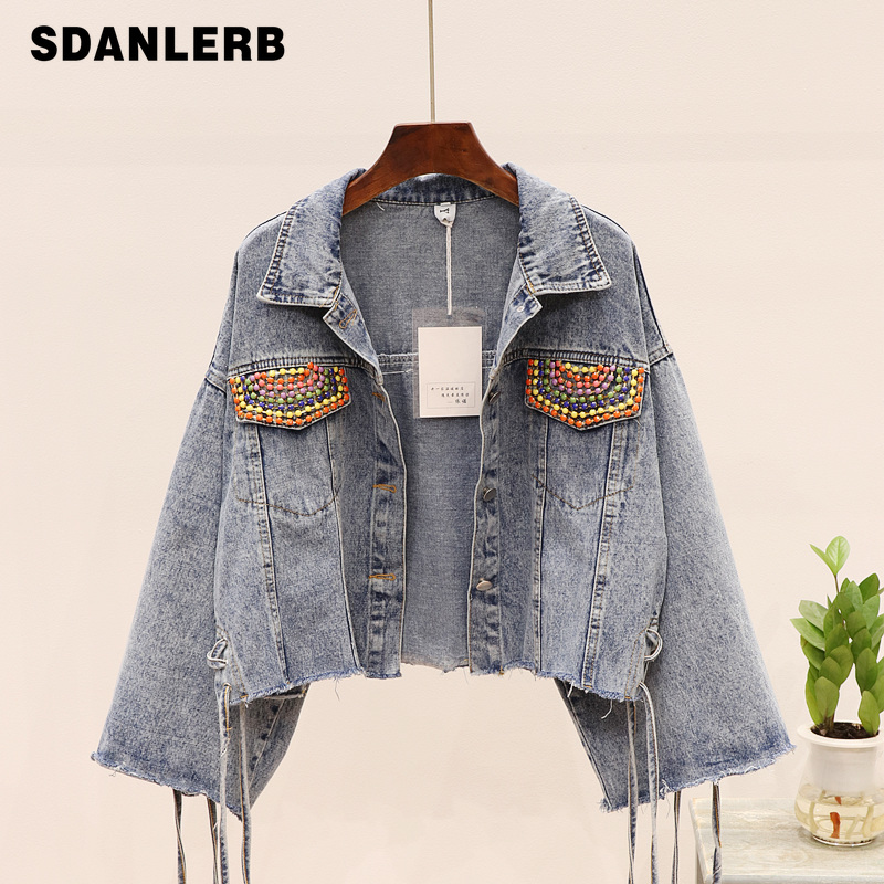 2019 Autumn New Woman's Bead Tassel High Waist Short Coat Women Loose Tie Rope Long Sleeve Jeans   Jacket   Lady   Basic     Jackets   Femme