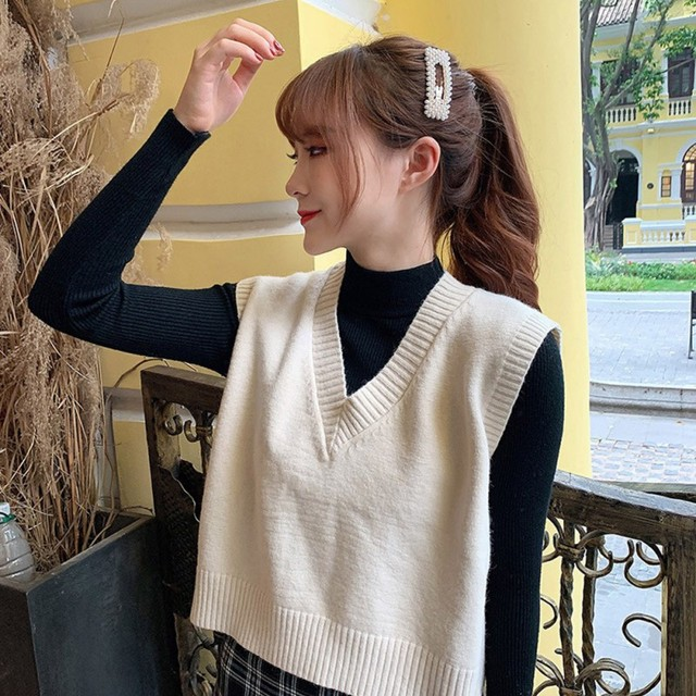 Autumn Sleeveless Sweater Women Sweet Solid Color V Neck Knitted Loose Sleeveless Slim Vest Jumpers Pull Femme 4