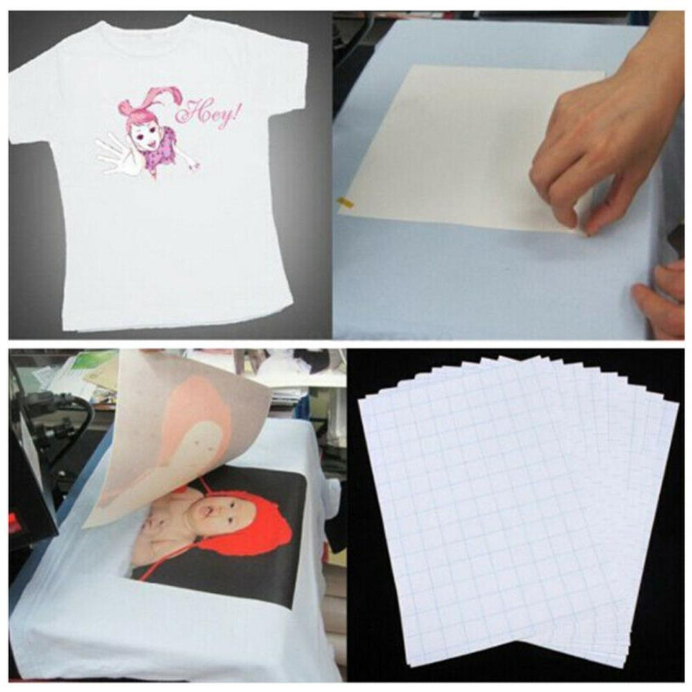 10pcs/Set T Shirt A4 Transfer Paper Iron On Heat Press Light Fabrics Inkjet Print Printing Paper For T Shirts A4 Craft