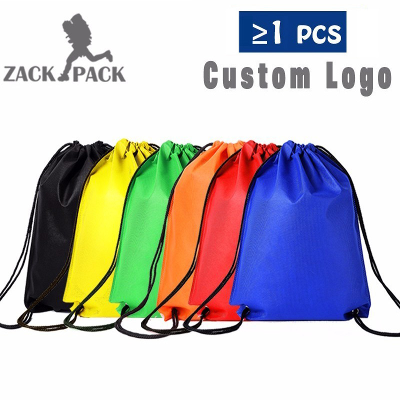 10pcs Sports Waterproof Drawstring Bags Custom Logo Pouch Backpack Pull Rope Man Small Canvas Gym Sack Mochila Knapsack DB22