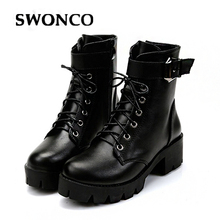 SWONCO New Fashion Buckle Warm Plush Winter Women Ankle Boots For Women Leather Lace Up Autumn Motorcycle Boots Shoes Woman