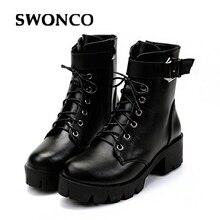 SWONCO חדש אופנה אבזם חם קטיפה חורף נשים קרסול מגפי נשים עור שרוכים סתיו אופנוע מגפי נעליים אישה