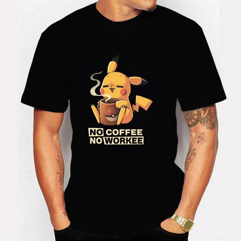 NO COFFEE NO WORKEE T Shirt PIKACHU POKEMON-pika Tshirt O-Neck Short Mens Shirts Funny T Shirts Pokemon-pikachu Men Tops Tees
