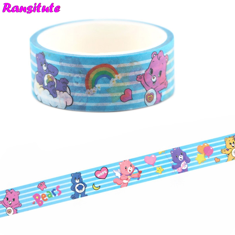 Ransitute Care Bears Washi Tape Lace Masking Tape DIY Album Decoration Tape Kawaii Stationery Scrapbooking Paper R668