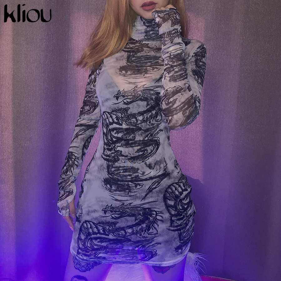 Kliou women turtleneck dress sexy mesh material print slim skinny dresses autumn new long sleeve female fashion skinny outfits 3