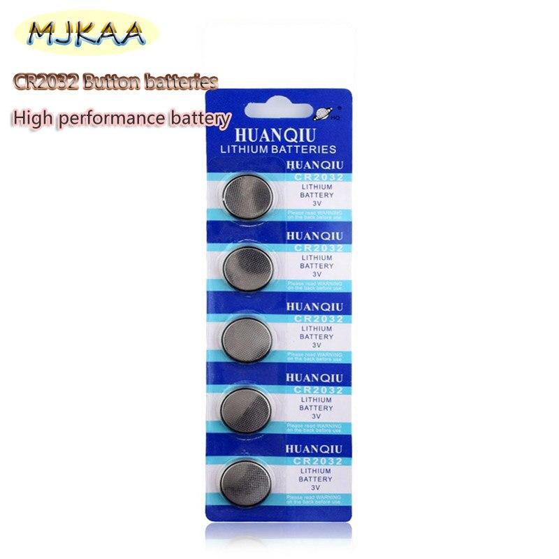 MJKAA 5 шт. CR2032 Кнопочные Батареи BR2032 DL2032 ECR2032 Сотовые Монеты Литиевая Батарея 3 В CR 2032 Для Часов Электронные Игр