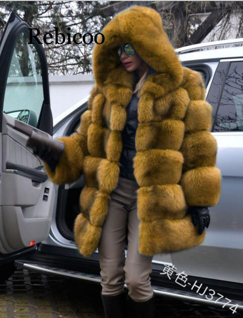 New Fashion Female Overcoat Long Imitated Mink Fur Hooded Coats Plus Size Women Winter Clothes Ladies Fur Coat