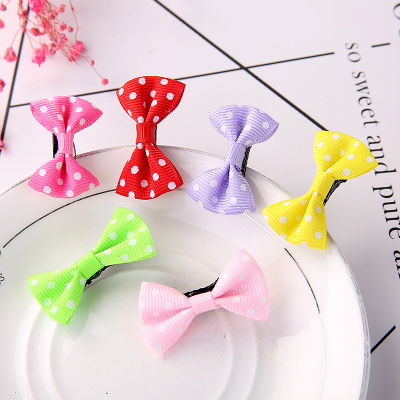 10Pcs/Lot Small Mini Bow Hairgrips Sweet Girls Solid Dot/ Stripe Printing Whole Wrapped Safety Hair Clips Kids Hairpins