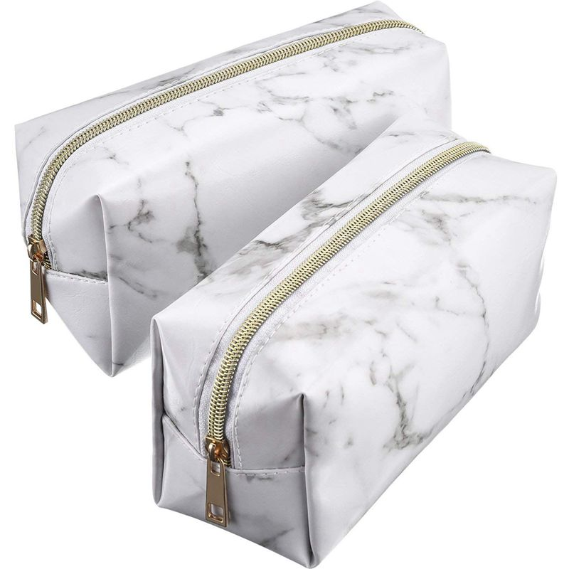BEAU-2 Pieces Cosmetic Toiletry Makeup Bag Pouch Gold Zipper Storage Bag Marble Pattern Portable Makeup Brushes Bag
