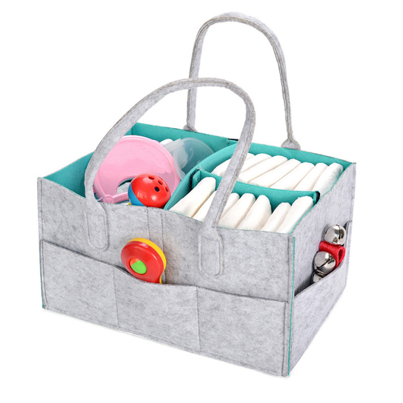 New Portable Folding Felt Diaper Bag Multi-function Children Baby Clothes Toy Storage Bag Tote Bag Kindergarten Bag