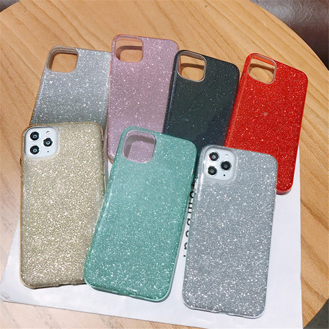 Lovebay For iPhone 11 Case Glitter Bling Candy Color For iPhone 11 Pro Max Phone Cases Soft TPU Silicone Solid Shiny Back Cover