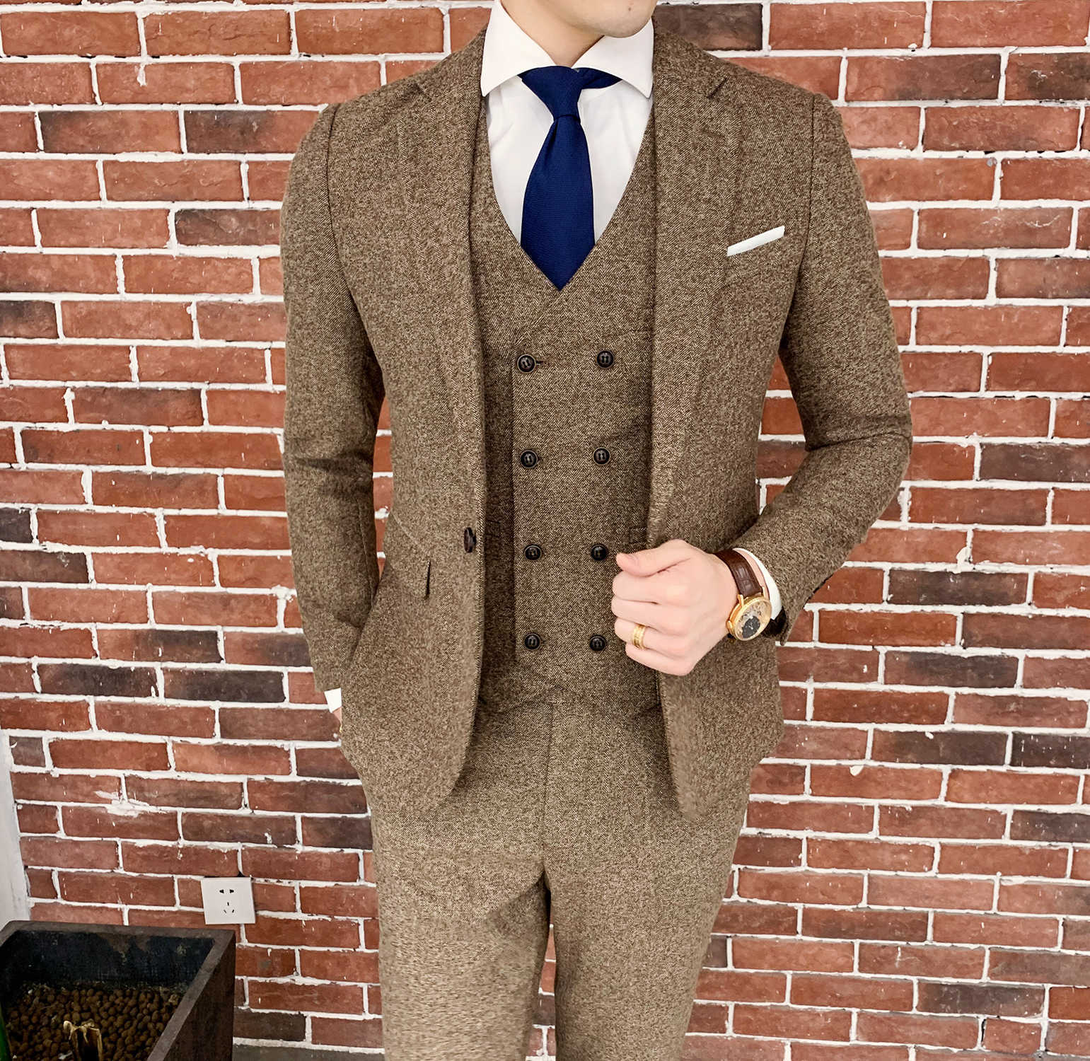 Brown Herringbone Suit Designer Costume Mariage Homme Party Suits Tuxedo Groom Wedding Men SuitTrajes De Hombre Para Fiesta 6xl