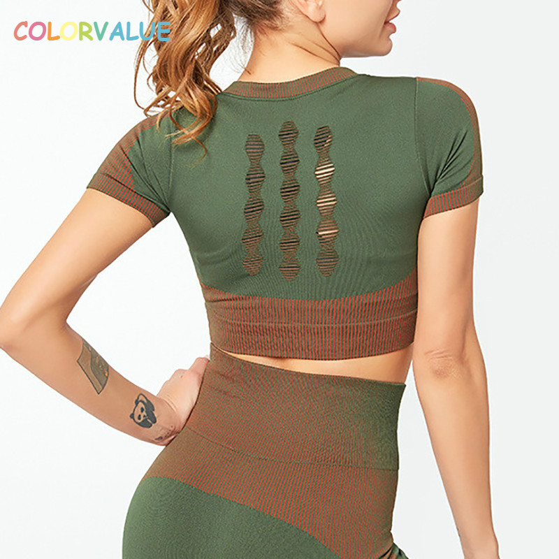 Colorvalue Seamless Hollow Out Athletic Fitness Workout Crop Tops Women Anti-sweat O-neck Yoga Training Sport Crop Tee Shirts