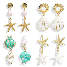 HOCOLE Vintage Gold Metal Earrings For Women Geometric Pearl Conch Starfish Pendant Drop Statement Bohemian Jewelry