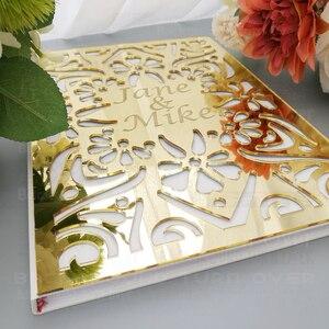 Image 5 - パーソナライズされた結婚式ゲストブックアルバムカスタムsignaturオーバルホワイト空白の内側のページmirro名日付ブライダルパーティーギフト装飾G009
