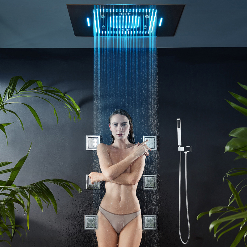 Concealed Music Bathroom Shower LED Rainfall Head 800*600mm Smart Thermostatic Showers Faucet Set Multifunction Waterfall