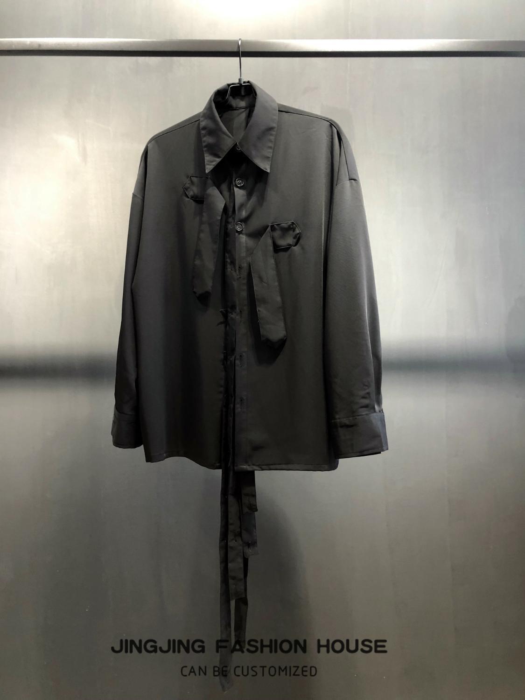 Ruban Design noir homme pioneer ruban déconstruit chemise à manches longues chemise ample - 3