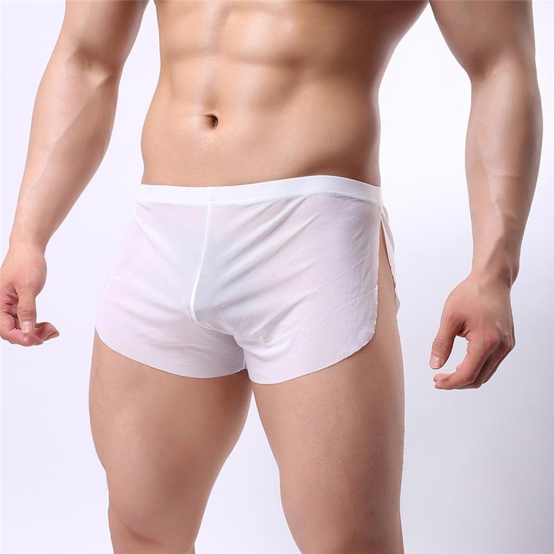Europe Size Men Ice Silk Sexy Gay Panties Boxer Ultra-thin Translucent Gauze Solid Comfortable Boxer Shorts Trunks Men Underwear