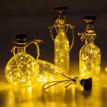 6Pcs/Set 1m LED Solar Powered Cork Shape String Light Waterproof Wine Bottle Lamp DIY Part For Outdoor Garden Decoration