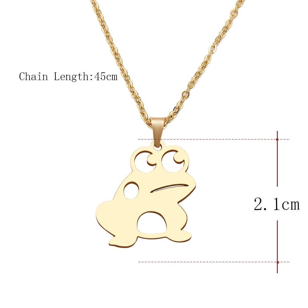 DOTIFI acier inoxydable collier pour femmes homme grands yeux chanceux grenouille tour de cou pendentif collier bijoux de fiançailles
