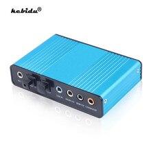 Kebidu-tarjeta de sonido USB 2,0, 6 CANALES, 5,1, tarjeta de Audio externa óptica, controlador SPDIF, Chipset CM6206 para ordenador portátil, escritorio y tableta