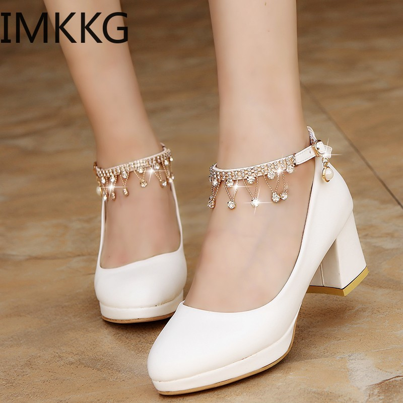 White Women Wedding Shoes Crystal Preal Ankle Strap Bridal Shoes Woman Dress Shoes Seay Pumps Sweet Party Shoes Y10342