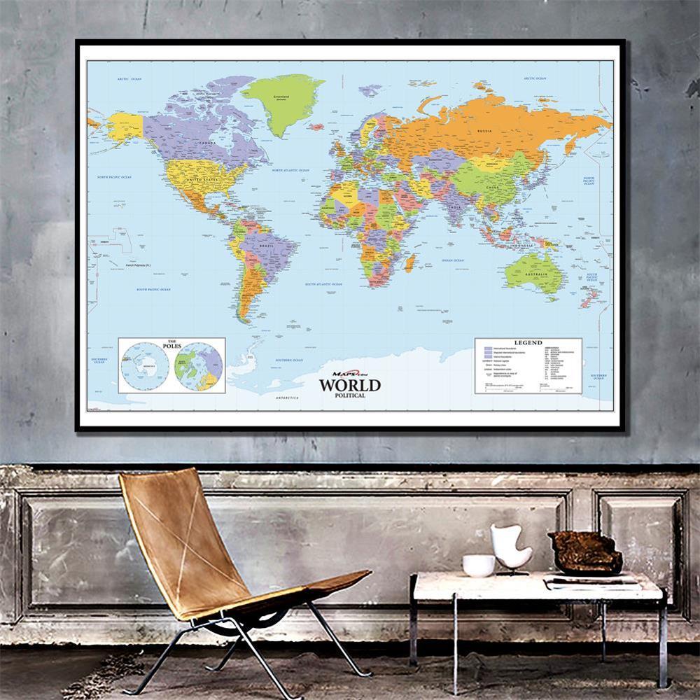 150x225cm el mapa físico del mundo no tejido impermeable Sin Bandera Nacional para la educación y la Cultura Mapa del mundo LED levitación magnética Globo flotante hogar electrónico antigravedad lámpara novedad bola Luz Decoración de cumpleaños