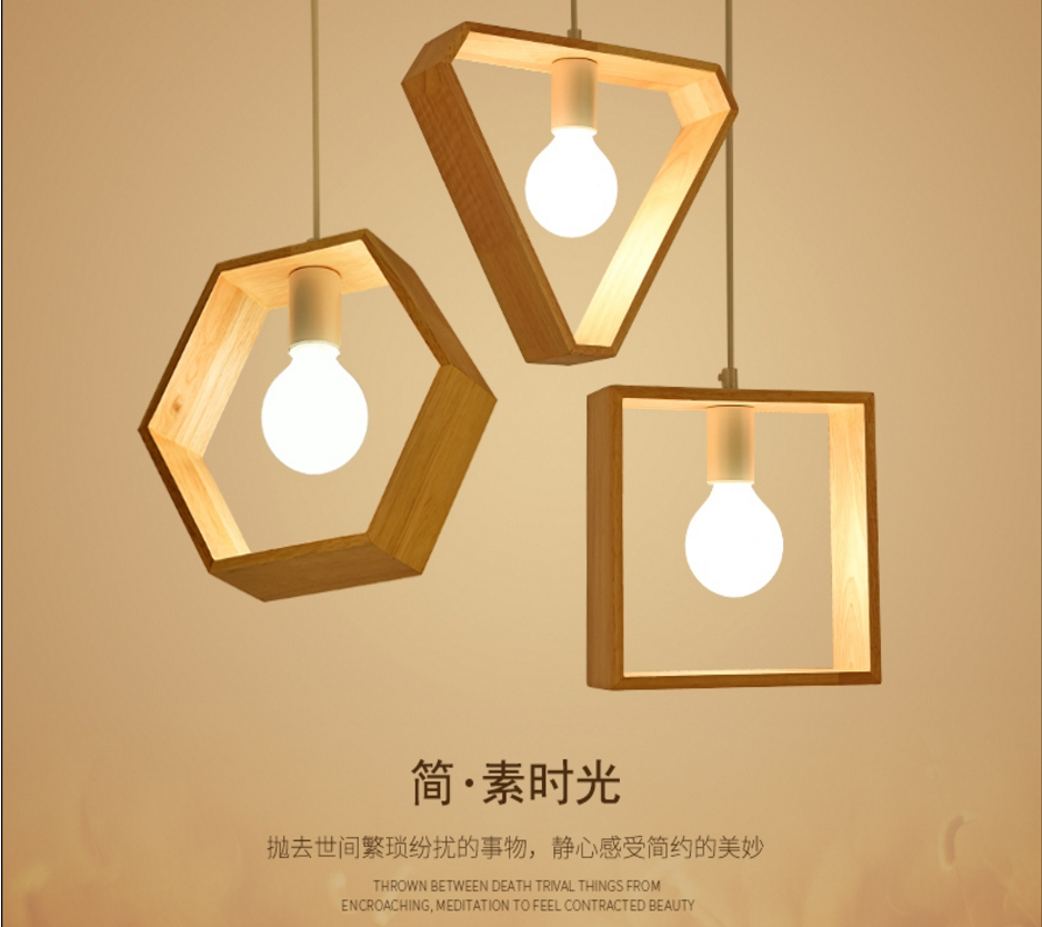 Novelty Modern Led Pendant Light Square Hexagon Triangle Shape Wood Nordic Lamp Ceiling Home Deco Kitchen Cozy Creative Dining