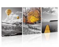 Black and White Yellow Hot Air Balloons Mountain Wall Art Decor Autumn Forest Canvas Painting Pier Lake Prints Pictures for Home