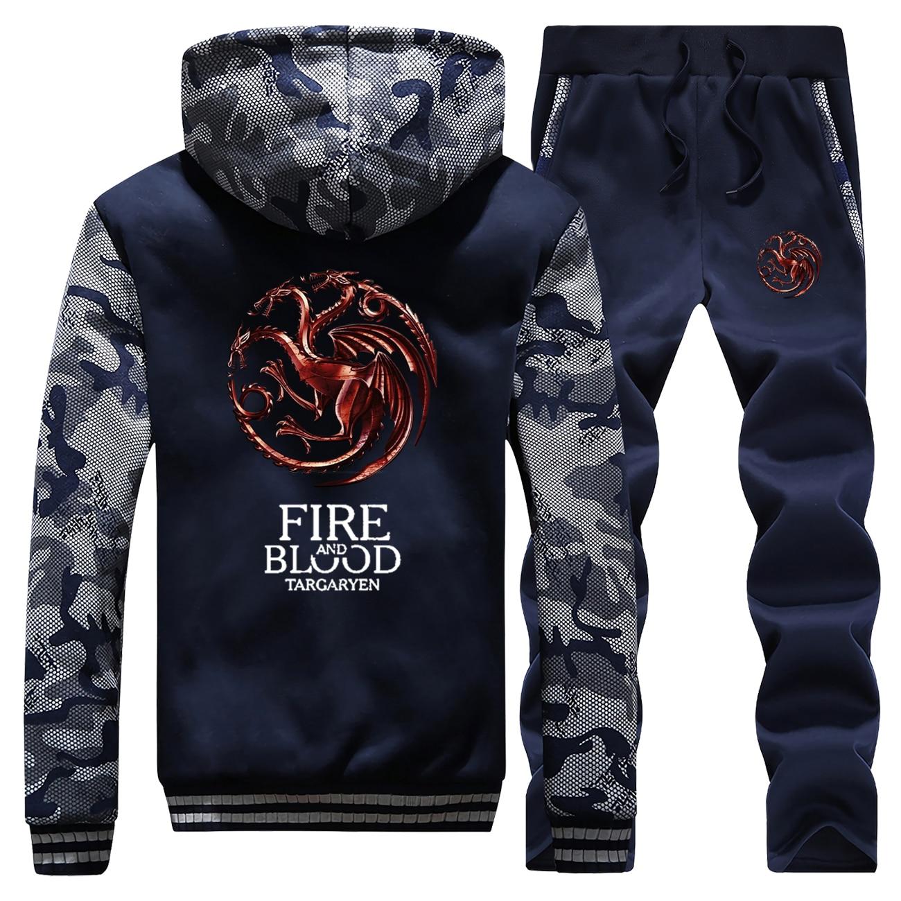 Game Of Thrones Thick Fleece Hoodie Sweatshirts Men Jacket+Pants 2 Piece Set Mens Fire And Blood Targaryen Hoodies Trousers Suit