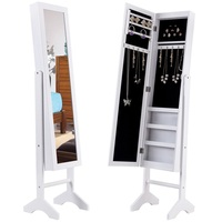 White Freestanding Mirrored Jewelry Armoire Makeup Organizer Storage Cabinet with Lights Bedroom Furniture HW56228