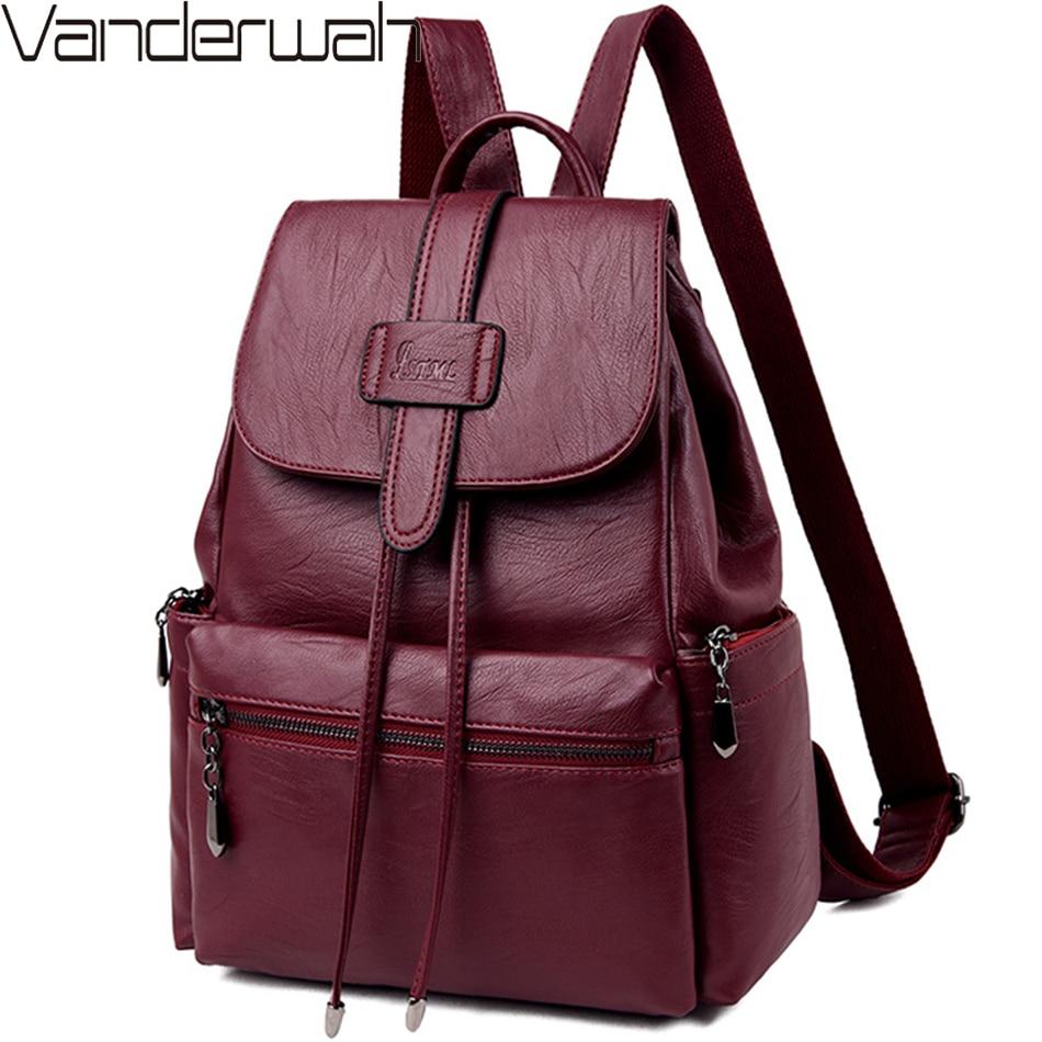 2019 New Leather Backpacks Women Casual Back Pack Sac A Dos Femme Travel Backpack School Bags For Teenage Girls Mochila Feminina