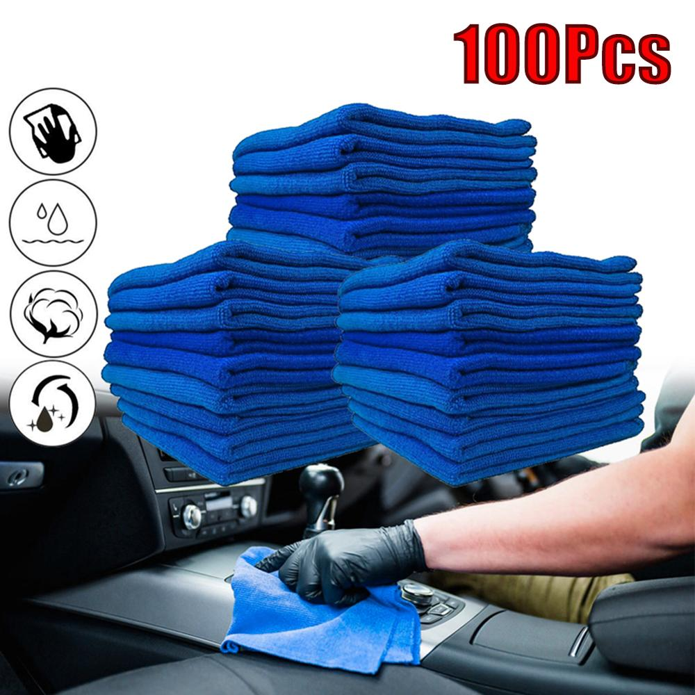 OLOMM 100 PCS Blue Microfiber Car Wipers Cleaning Cloth Car Towel No-Scratch Rag Polishing Detailing Towel