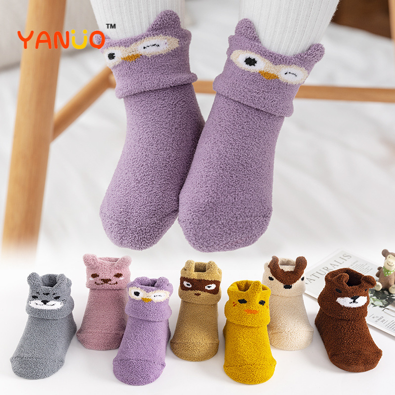 Calcetines antideslizantes para bebé recién nacido, calcetines de lana de Coral de silicona para niño de 0 a 4 años, ropa para niño, calcetines para pies, regalos