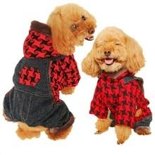 цена на Warm Winter Dog Jumpsuit Houndstooth Plaid Overalls for Dogs Hood Fleece Pocket Dog Clothes