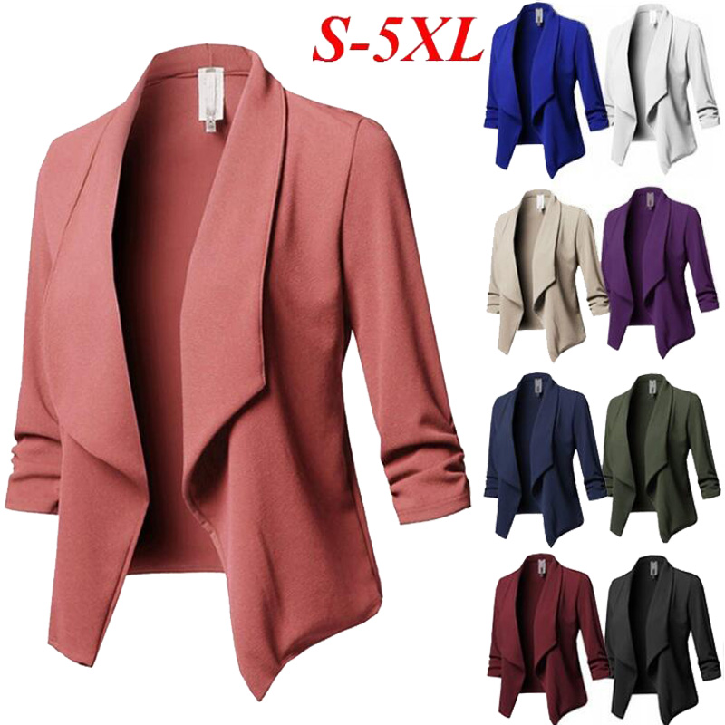 10 Colors Optional Plus Size S-5XL Blazer Women Suit Jacket Casual Slim Blazer Feminino Wild Womens Tops And Blouses L71506