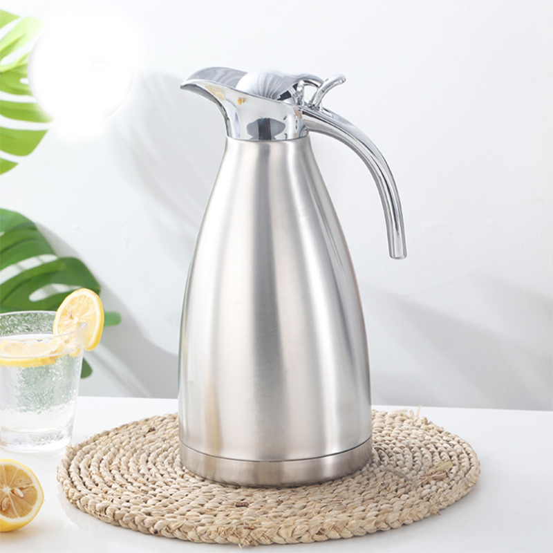 Double Wall Insulated Thermal Jug and Stainless Steel Vacuum Jug in One Button Push Design