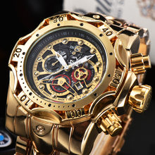 Brand Luxury Golden Hollow Watches Mens Automatic Big Dial Male Wristwatch Stainless Steel Unique Man Watch Vintage Clock Mens