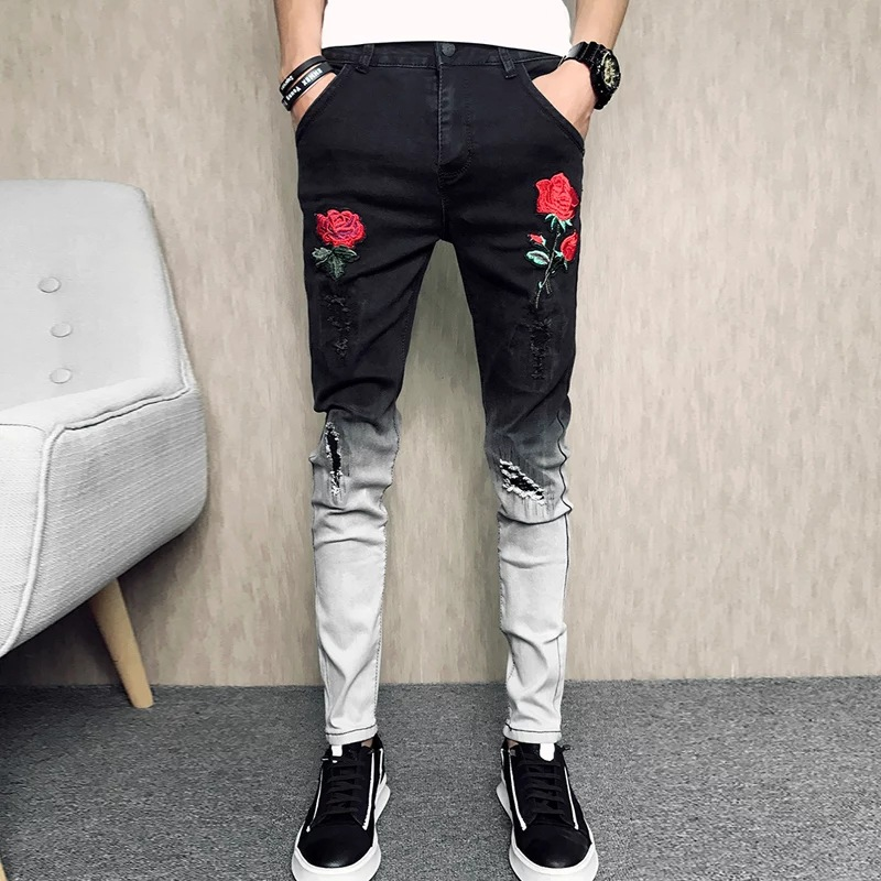 2019 New Style MEN'S Jeans Printed Mens JEANS Black Jeans Fashion Elasticity Skinny Men's Trousers Long